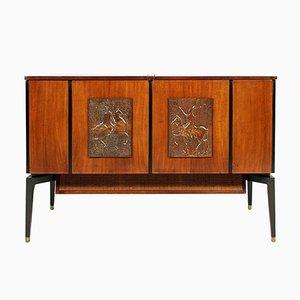 Radio, tocadiscos y televisor de caoba, años 70