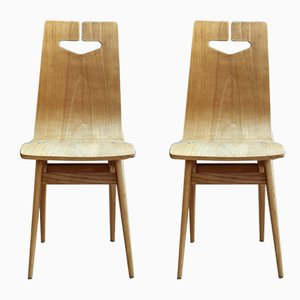 Model 1329 Plywood & Ash Veneered Dining Chairs by Rajmund Hałas for Bydgoskie Fabryki Mebli, 1960s, Set of 2