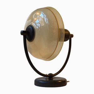 Danish Art Deco Brass & Glass Table or Wall Lamp from Fog & Mørup, 1930s