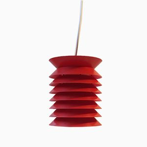 Lampe à Suspension Space Age Rouge à Niveaux par Lars Schiøler pour Høyrup, 1970s