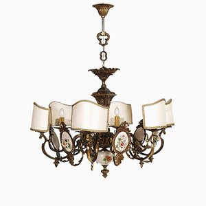 Art Nouveau Italian Chandelier in Burnished Brass and Bassano Ceramic, 1930s