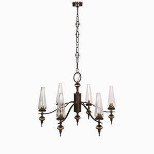 Art Deco 6-Light Burnished Brass & Venini Murano Glass Chandelier, 1930s