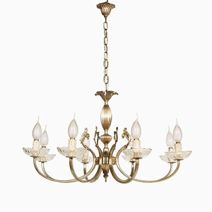 Venetian 8-Arm Chandelier in Silvered Brass, 1950s
