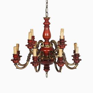 Lámpara de araña Mid-Century de bronce y madera lacada en rojo con 12 luces