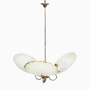 Mid-Century Art Deco Burnished Brass & Murano Glass Chandelier with Three Lights
