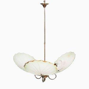 Mid-Century Art Deco Messing & Murano Glas Kronleuchter mit drei Leuchten