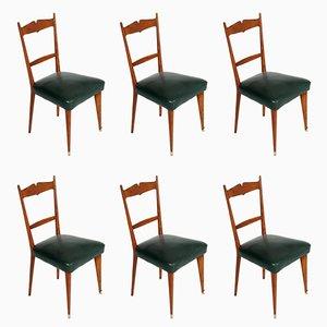 Mid-Century Italian Cherrywood Chairs, 1950s, Set of 6