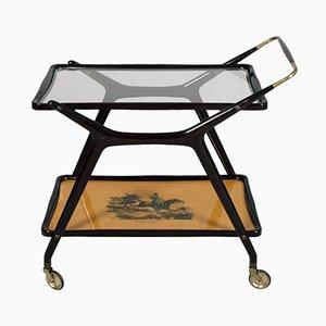 Mid-Century Italian Mahogany Serving Cart by Cesare Lacca