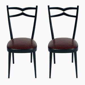 Black Lacquered Walnut & Leatherette Side Chairs, 1940s, Set of 2