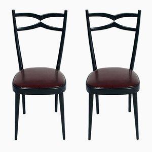 Sedie in noce nera ed ecopelle, anni '40, set di 2