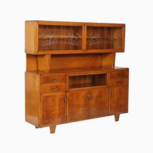 Art Deco Italian Walnut Sideboard with Display Cabinet, 1940s