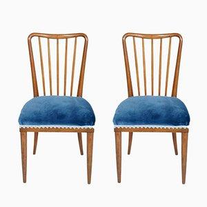 Chaises d'Appoint Mid-Century Modernes en Noyer Blond par Paolo Buffa, 1950s