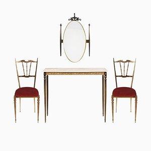 Consolle Art Nouveau in ottone con specchio e due sedie