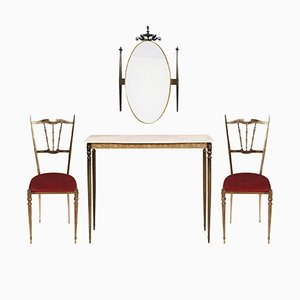 Mesa consola de recibidor, espejo y dos sillas modernistas Mid-century de latón