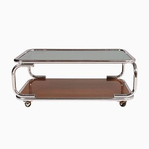 Italian Chrome, Smoked Glass & Faux Laminated Wood Coffee Table on Casters, 1960s