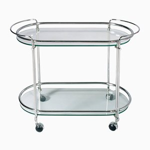 Art Deco Chrome Brass & Crystal Drinks Trolley, 1950s