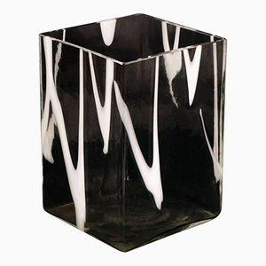 Transparent & White Murano Glass Vase from Venini, 1950s