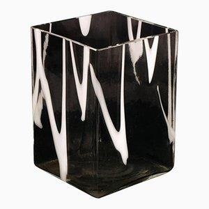 Vaso in vetro di Murano bianco e trasparente di Venini, anni '50