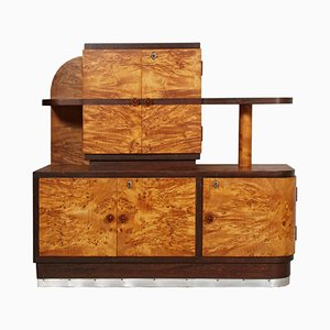 Italian Art Deco Sideboard in Burl Elm, 1930s