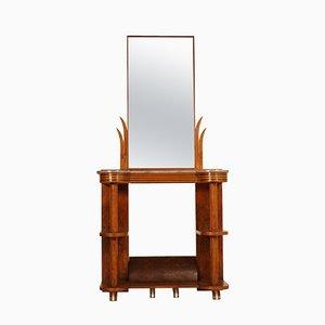 Art Deco Italian Walnut Burl Console Table with Mirror by Quirino De Giorgio, 1930s
