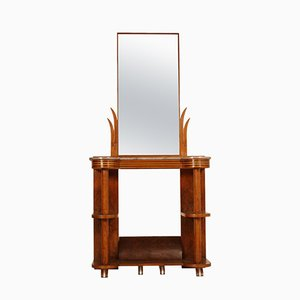 Art Deco Italian Walnut Burl Console Table with Mirror by Quirino De Giorgio, 1930s