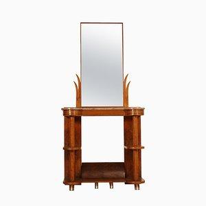 Mesa consola italiana Art Déco de madera nudosa de nogal con espejo de Quirino De Giorgio, años 30