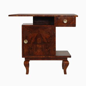Art Deco Walnut Burl Nightstand by Gaetano Borsani, 1930s