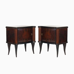 Mid-Century Modern Italian Walnut Burl Nightstands, Set of 2
