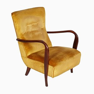 Mid-Century Modern Walnut & Velvet Lounge Chair, 1940s