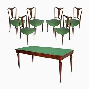 Italienischer Mid-Century Walnuss Esstisch & 6 Stühle