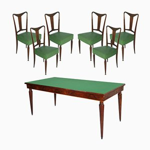 Mid-Century Italian Walnut Dining Table & 6 Chairs