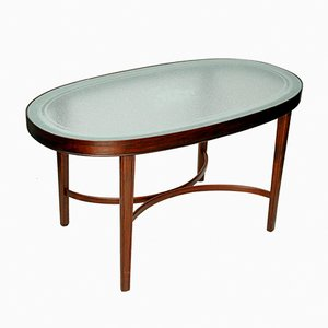 Danish Beech Coffee Table with Glass Top, 1940s