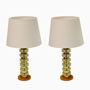Glass and Brass Table Lamps with Teak Bases, 1960s, Set of 2