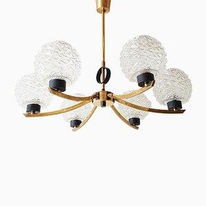 Lámpara de araña francesa Mid-Century de vidrio, acero y latón, años 50