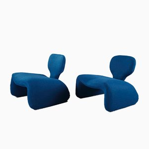 Blue Djinn Chairs by Olivier Mourgue for Airborne, 1960s, Set of 2