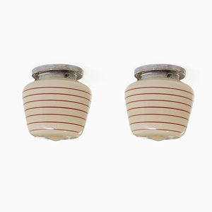 Functionalist Flush Mount Ceiling Lights, 1950s, Set of 2