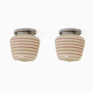 Lampade da soffitto ad incasso funzionaliste, anni '50, set di 2