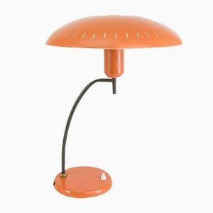 Lachsfarbene Metall Tischlampe von Louis Kalff für Philips, 1950er