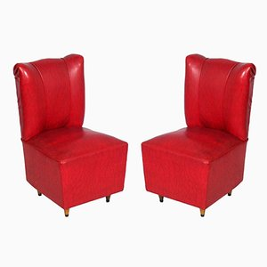 Art Deco Italian Leatherette Bedroom Chairs, Set of 2