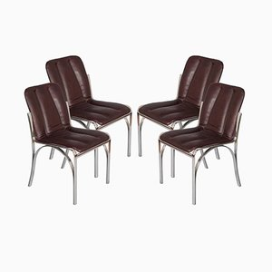 Italian Chromed Steel & Soft Leather Chairs, 1970s, Set of 4