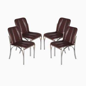 Italienische Stühle aus verchromtem Stahl & weichem Leder, 1970er, 4er Set