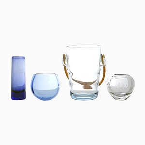 Vintage Glass Ice Bucket & 3 Vases by Per Lütken for Holmegaard