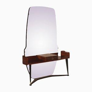 Mid-Century Italian Burl Walnut Vanity Console with Mirror
