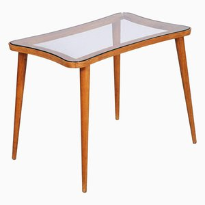Mid-Century Modern Coffee Table with Glass Top