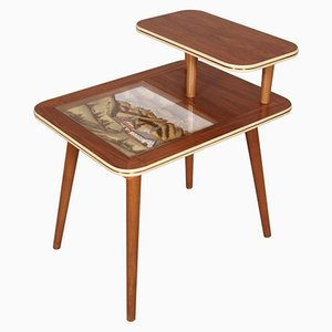 Mid-Century Coffee Table with Hand-Painted Landscape Decoration, 1950s