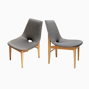 Shell Chairs in Ash by Hanna Lachert for ŁAD, 1950s, Set of 2