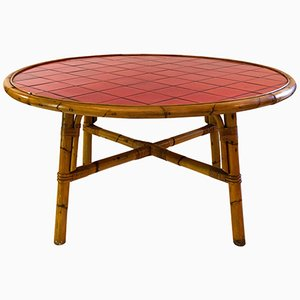 Dining Table in Bamboo & Vallauris Ceramic by Adrien Audoux & Frida Minet, 1960s