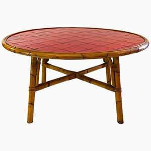 Tavolo da pranzo in bambù e ceramica Vallauris di Adrien Audoux & Frida Minet, anni '60