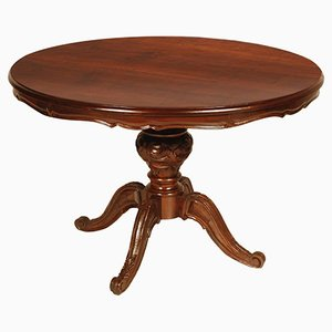 Round Vintage Louis Philippe Style Table in Turned & Hand-Carved Walnut