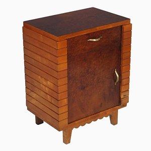 Comodino Art Déco in legno di noce, anni '50